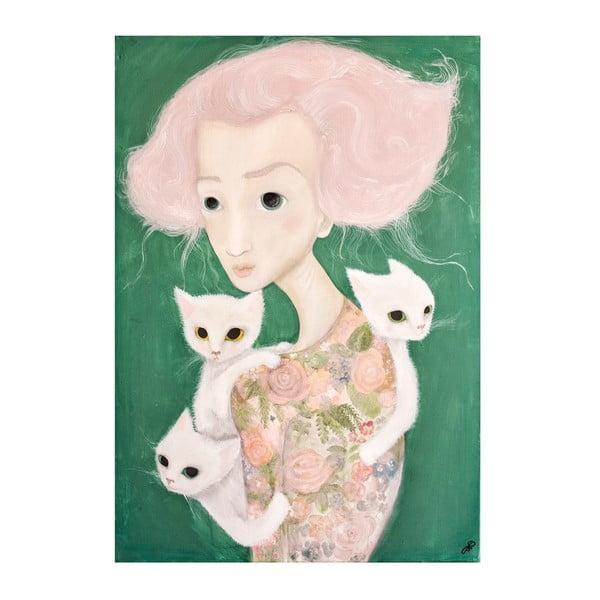 Autorský plakát od Lény Brauner Slečna s malvíny, 60x64 cm