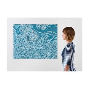 Modrá nástěnná mapa Palomar Pin Amsterdam