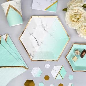 Sada 8 papírových talířů Neviti Mint Colour Block Marble, 20 cm
