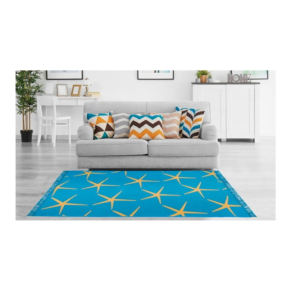 Modro-žlutý oboustranný koberec Starfish, 80 x 150 cm