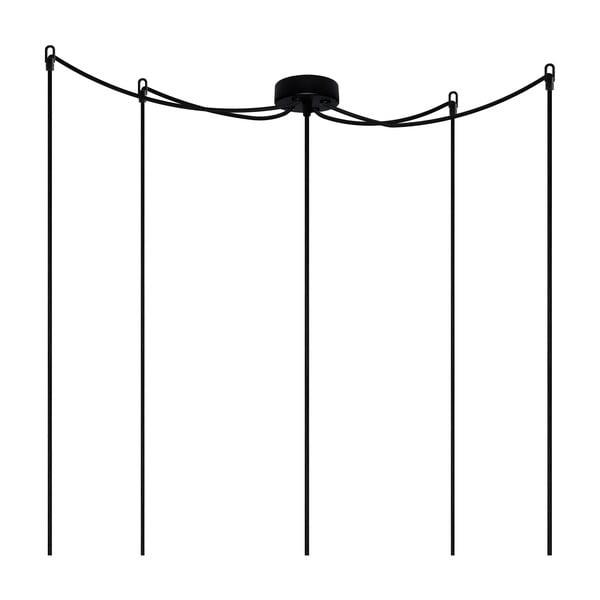 Černé závěsné svítidlo s 5 kabely Bulb Attack Uno Cassie