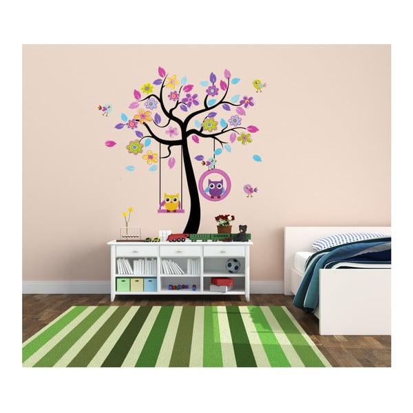 Dekorativní samolepka Barevný strom se sovičkami, 160x160 cm
