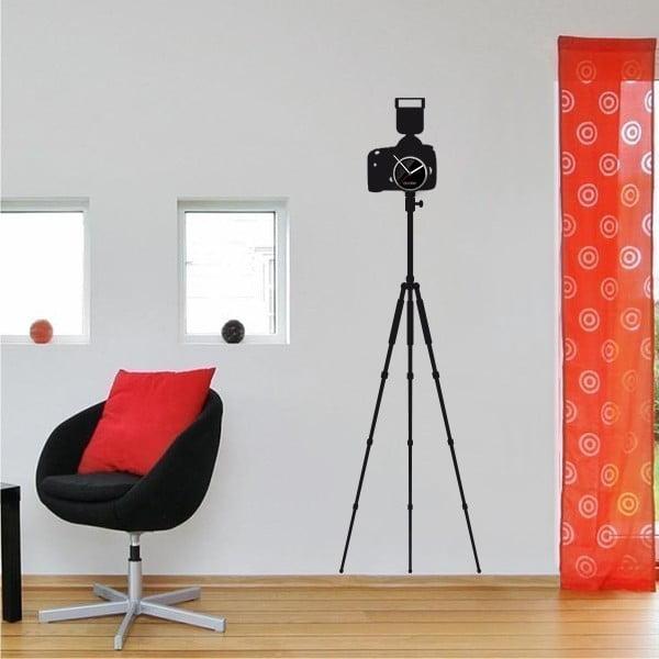 Hodiny se samolepkou Camera with Tripod, černá