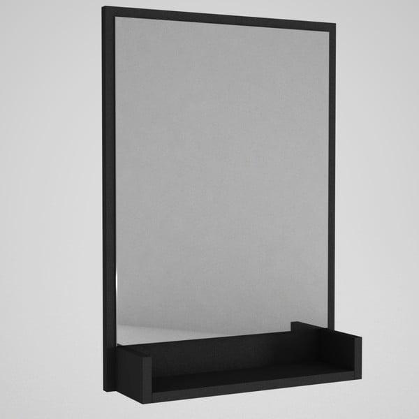 Nástenné zrkadlo v čiernom ráme s poličkou Hanna
