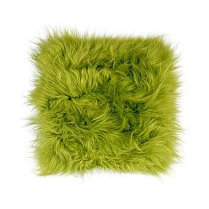 Pernă din blană cu fir lung pentru scaun Apple Green, 37 x 37 cm, verde