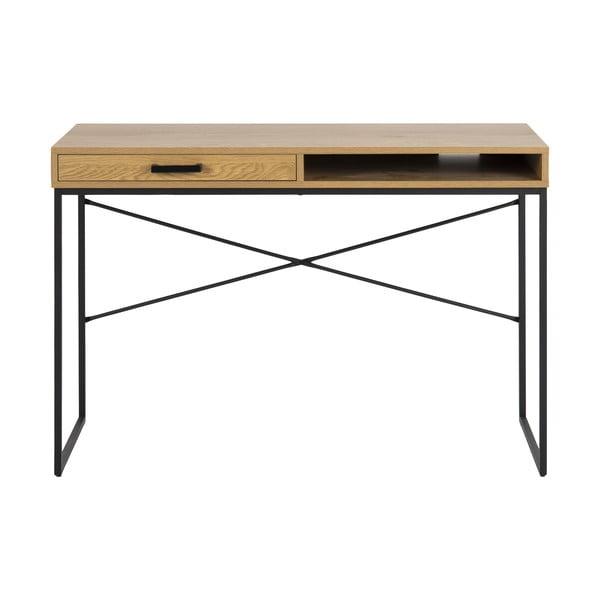 Pracovní stůl v dekoru divokého dubu s černým kovovým podnožím Actona, 110 x 45 cm