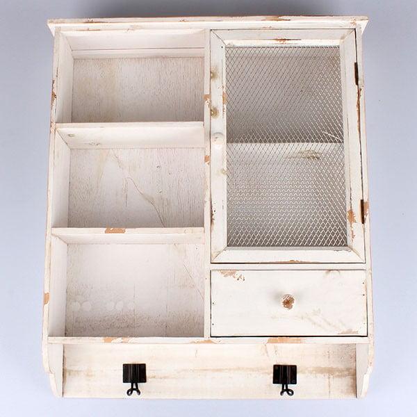 Dřevěná závěsná skříňka Country Time,bílá