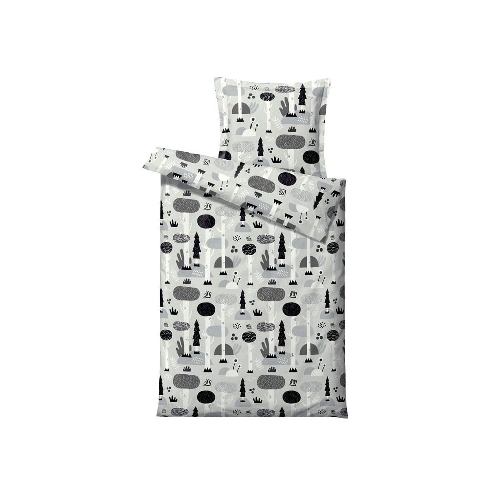 Černo-šedé dětské povlečení z ranforce bavlny Södahl Magic Forest,70x100cm