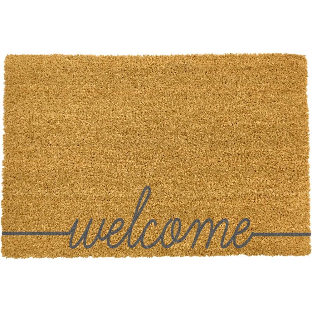 Šedá rohožka z přírodního kokosového vlákna Artsy Doormats Welcome Scribbled,40x60cm