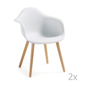 Set 2 scaune cu picioare din lemn și cotiere La Forma Kenna, alb