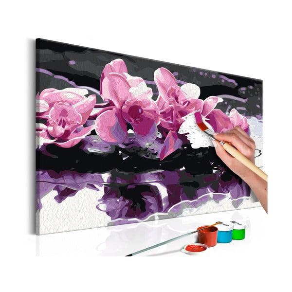 DIY set na tvorbu vlastního obrazu na plátně Artgeist Purple Orchid, 60x40 cm