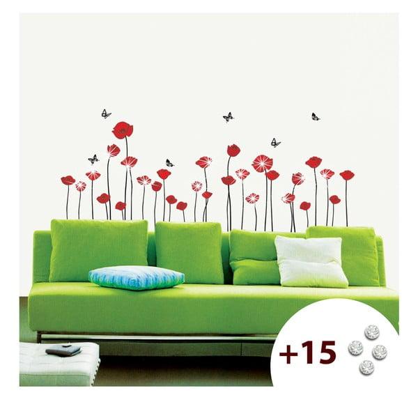 Set samolepky a 15 Swarovski krystalů Ambience Red Poppies