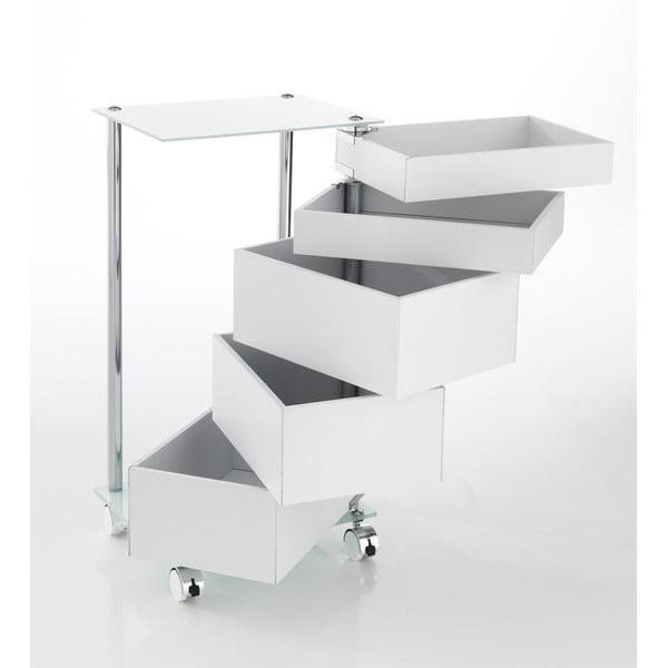 Bílý pojízdný vozík s 5 zásuvkami Tomasucci Bobo