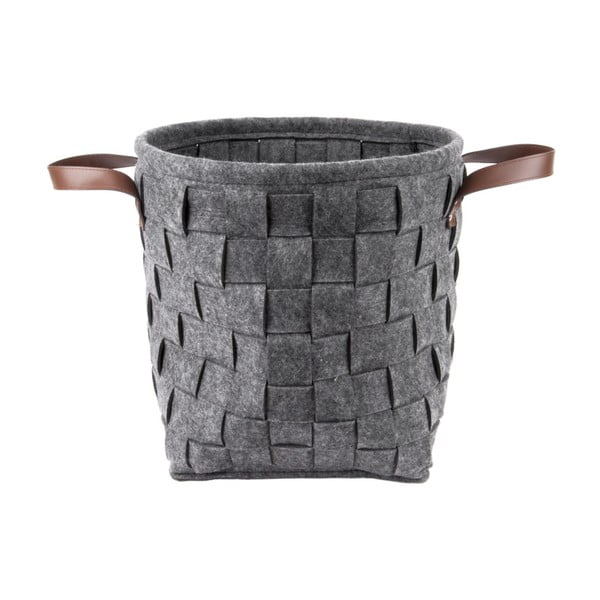 Tmavě šedý úložný koš s koženými úchyty PT LIVING Storage, ⌀34cm