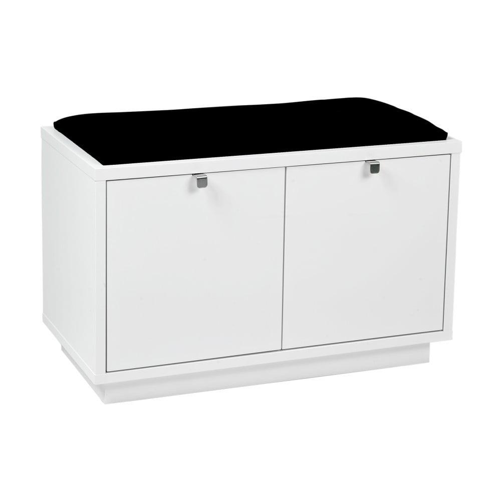 Bílá lavice s úložným prostorem a s černým sedákem Rowico Confetti, šířka 70 cm