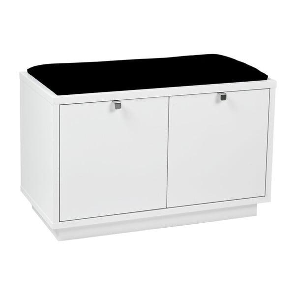 Bancă cu spațiu pentru depozitare și șezut negru Rowico Confetti, lățime 70cm, alb