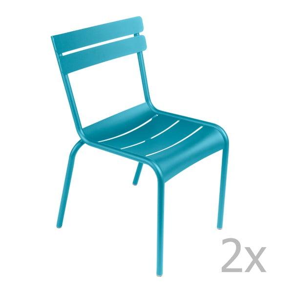 Sada 2 tyrkysových židlí Fermob Luxembourg