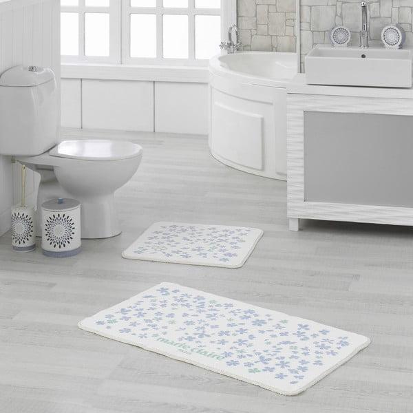 Sada 2 bílo-modrých koupelnových předložek Delight