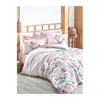 Lenjerie cu cearșaf din bumbac ranforce pentru pat dublu Juana Pink, 200 x 220 cm de la Unknown