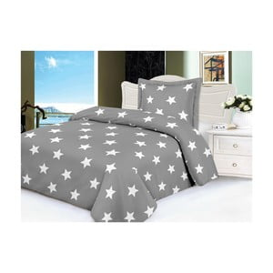 Lenjerie de pat din micropluș My House Stars, 140 x 200 cm, gri-alb