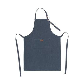 Șorț de bucătărie cu adaos de in Tiseco Home Studio, albastru închis