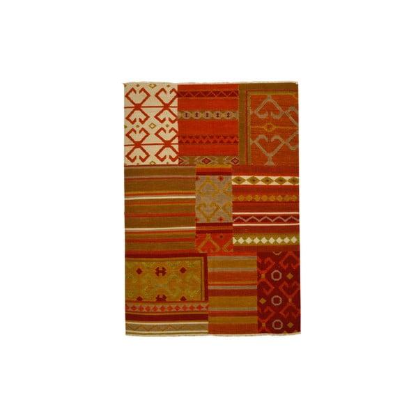 Ručně tkaný koberec Red Eclectic Kilim, 140x200 cm