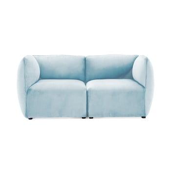 Canapea modulară cu 2 locuri Vivonita Velvet Cube, albastrul cerului