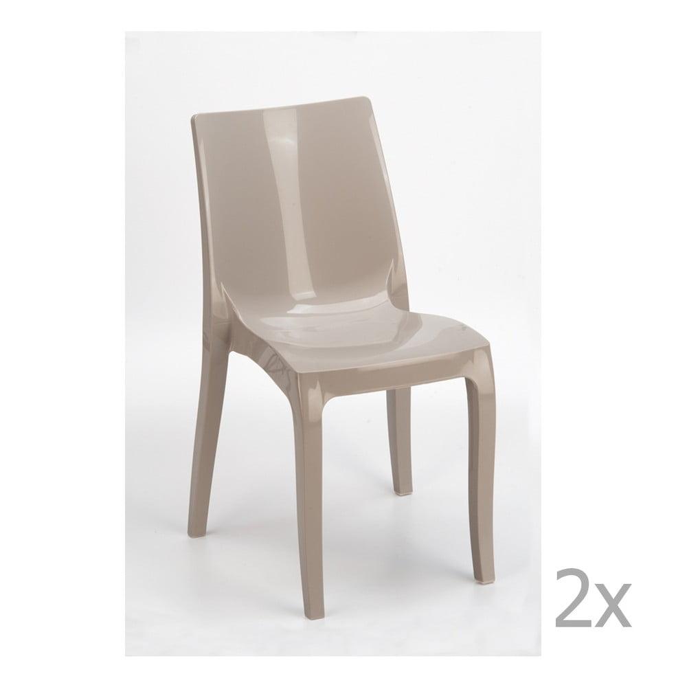Sada 2 béžových jídelních židlí Castagnetti Fashion