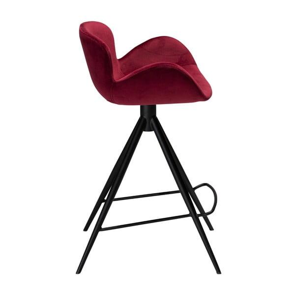 Vínová barová židle DAN–FORM Denmark Gaia Velvet, výška 87 cm