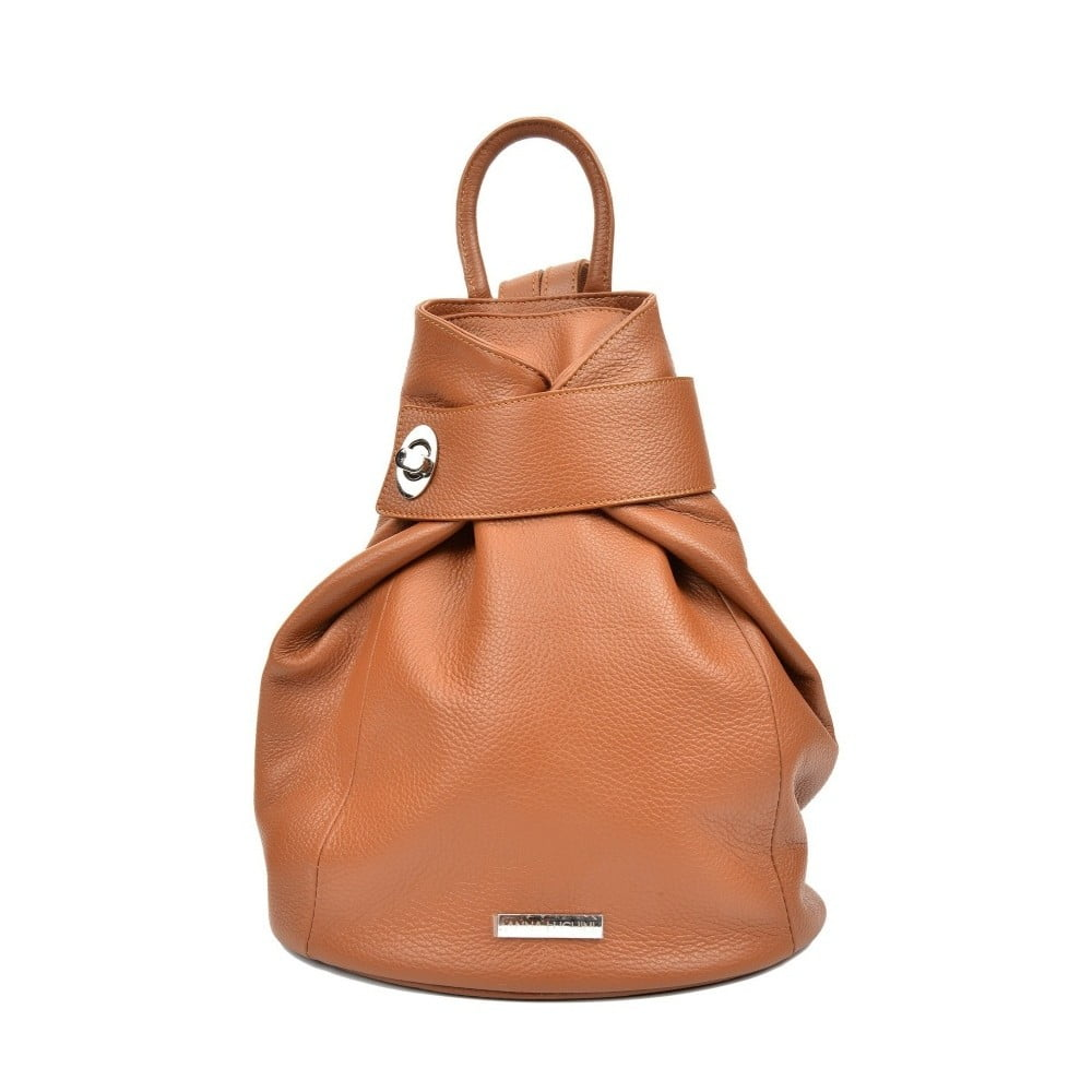Koňakově hnědý kožený batoh Anna Luchini Makna c0eee11354