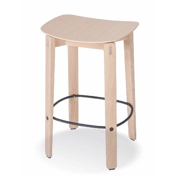 Přírodní nízká barová židle z dubového dřeva Gazzda Nora