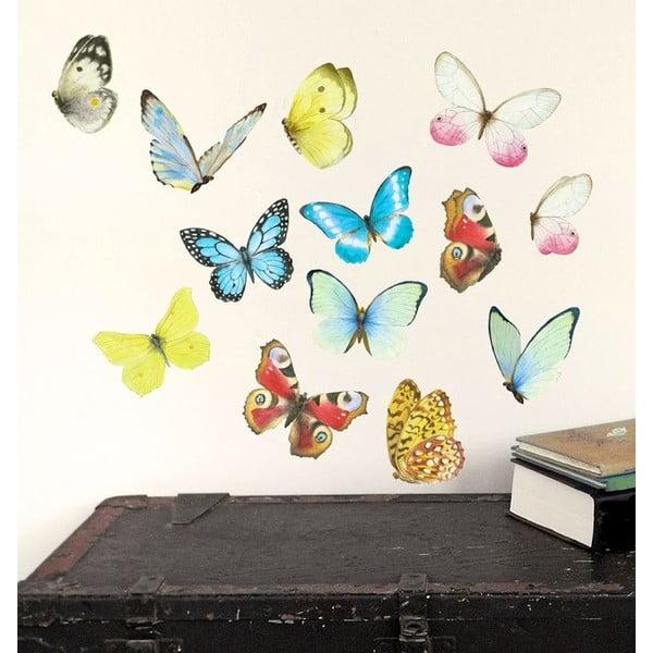Znovu snímatelná samolepka Watercolor Butterflies M