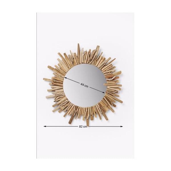 Kulaté nástěnné zrcadlo Kare Design Legno, Ø82cm
