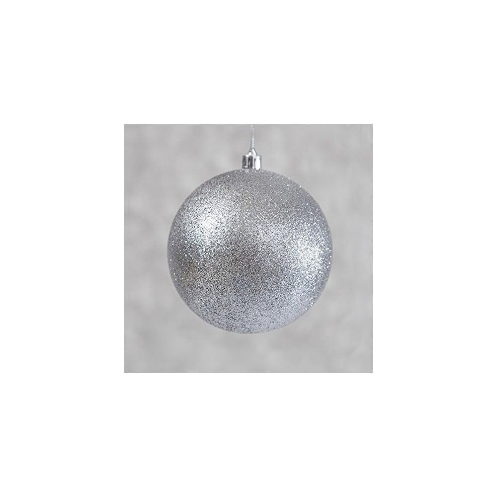 Sada 6 plastových vánočních ozdob ve stříbrné barvě DecoKing Enero