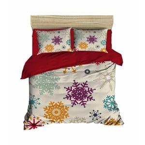 Lenjerie de pat cu cearșaf Christmas Snowflakes, 200 x 220 cm