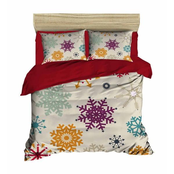Christmas Snowflakes kétszemélyes ágyneműhuzat lepedővel, 200 x 220 cm