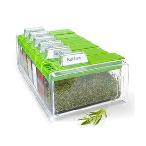 Box na koření s 6 přihrádkami Spice Box, zelený