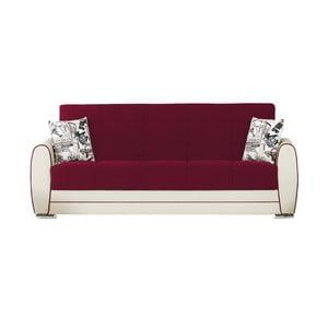 Canapea extensibilă de 3 persoane cu spaţiu de depozitare, Esidra Rest, vișiniu - crem