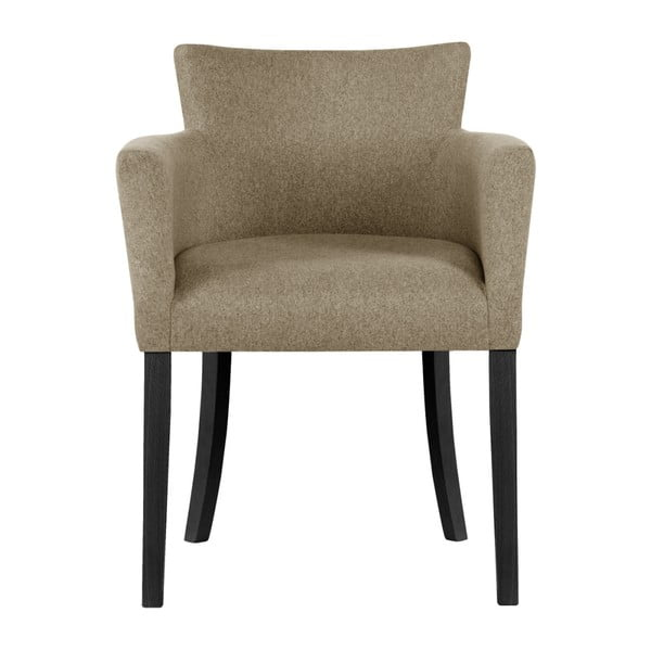 Béžová židle s černými nohami z bukového dřeva Ted Lapidus Maison Santal