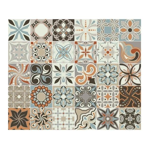 Set 30 autocolante de perete Ambiance Cement Tiles Bali, 10 x 10 cm