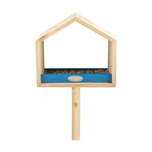 Krmítko z borovicového dřeva s modrým detailem Esschert Design, výška111cm