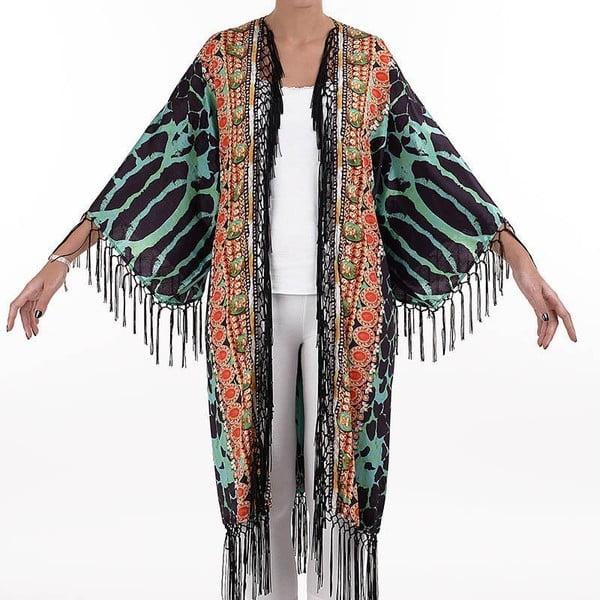 Dlouhé plážové kimono BLE Inart Leopard, vel. M
