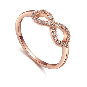 Prsten s krystaly Swarovski a růžovým zlatem Eternity, velikost 52
