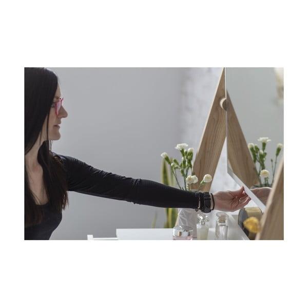 Bílý toaletní stojan s šuplíkem a zrcadlem Ragaba Leno