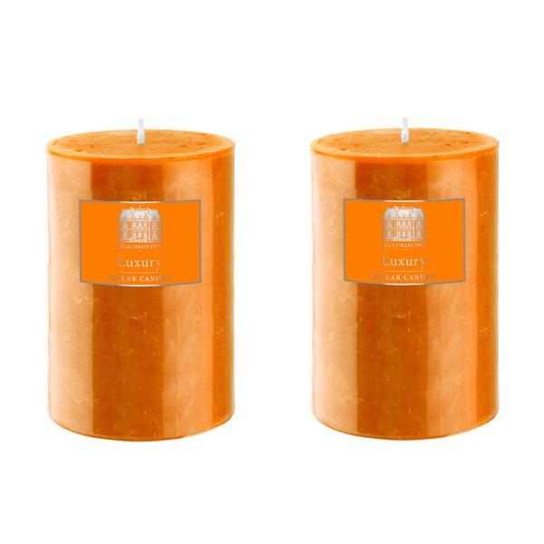 Set dvou svíček 10 cm, oranžové, 48 hodin hoření
