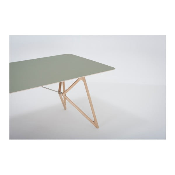 Jídelní stůl z masivního dubového dřeva se zelenou deskou Gazzda Tink, 200x90cm