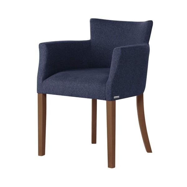 Tmavě modrá židle s tmavě hnědými nohami z bukového dřeva Ted Lapidus Maison Santal