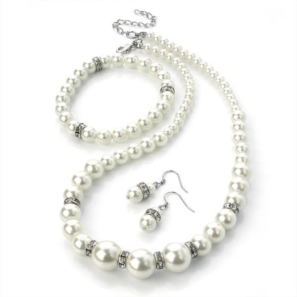 Sada náhrdelníku, náramku a náušnic Pearl Silver