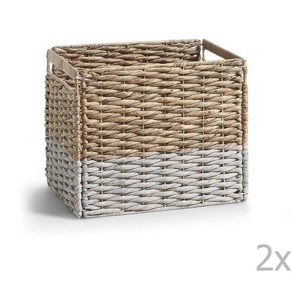 Sada 2 prútených úložných boxov s bielym detailom La Forma Woody