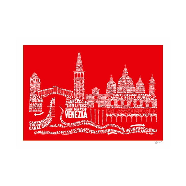 Plakát Venezia Red&White, 50x70 cm
